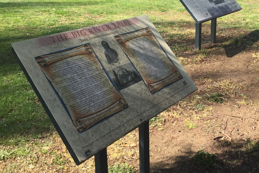 Walking Through Time Indigenous history board at Tynwald Park